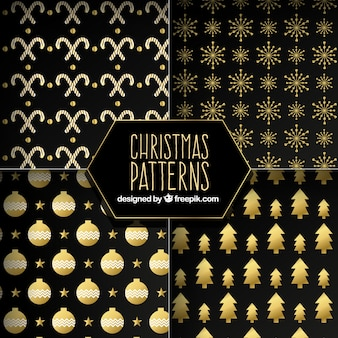 Dark patterns with golden christmas elements