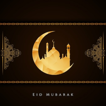 Dark religious eid mubarak design with moon
