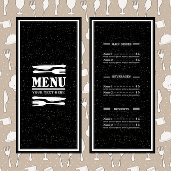 Dark restaurant menu template