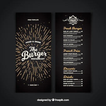 Dark restaurant menu