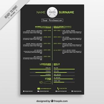 Dark resume with green details