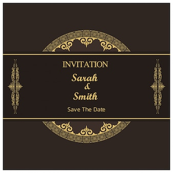Dark retro wedding invitation template