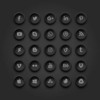Dark social media icons set