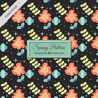 Dark spring pattern with decorative flowers
