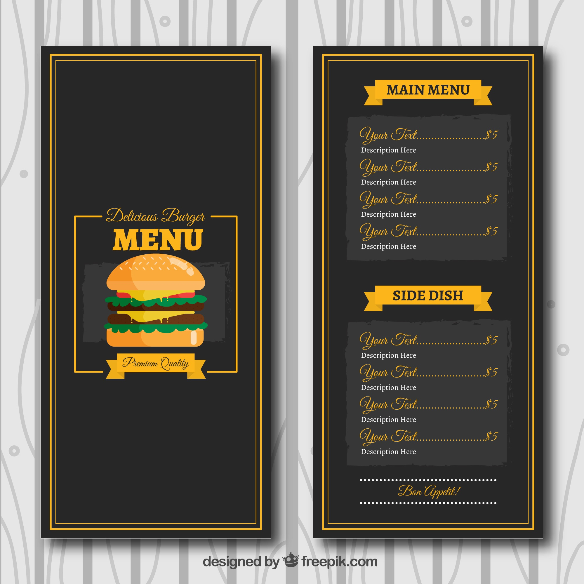 Dark template of burger menu in flat design
