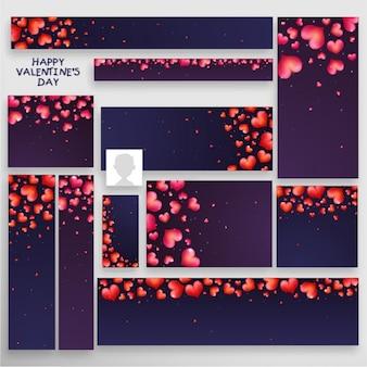 Dark valentine's banners with decorative hearts