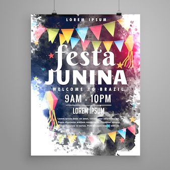Dark watercolor festa junina poster