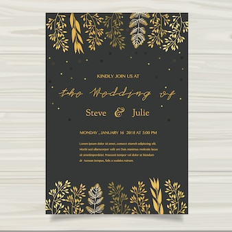 Dark wedding card with golden elements