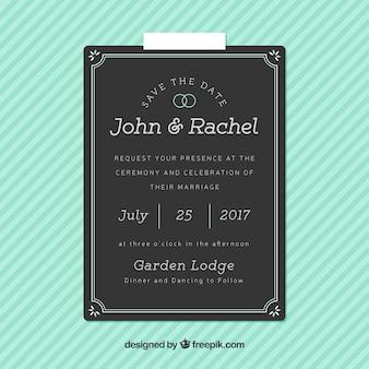 Dark wedding invitation with decorative frame