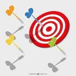 Darts target and red bullseye