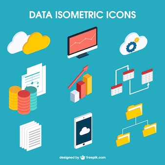 Data isometric icons