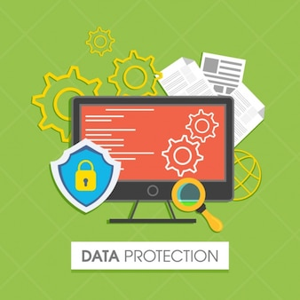 Data protection background in flat design