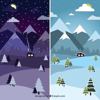 Day and night at winter forest