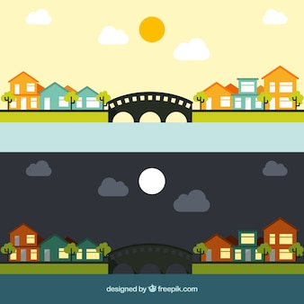 Day and night village in flat design