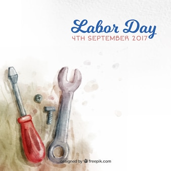 水彩画のツールを使ってアメリカの日労働の背景