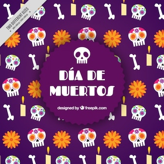 Day of the dead background with different elements