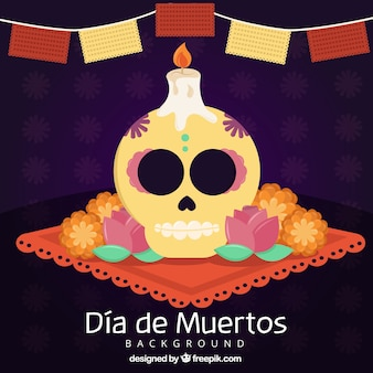 day of the dead celebration background of skull and candle