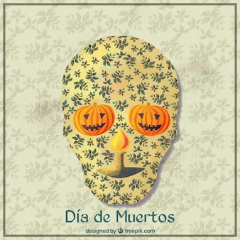 Day of the dead ornamental background of skull