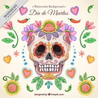Day of the dead watercolor skull background