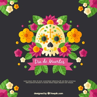 Deads' day background with skull and flowers