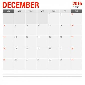 December Monthly Calendar 2016