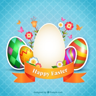 Decorated easter eggs card