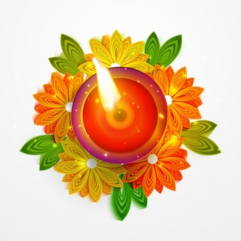 Decorated illuminated Oil Lamp (Diya) for Indian Festival Diwali.