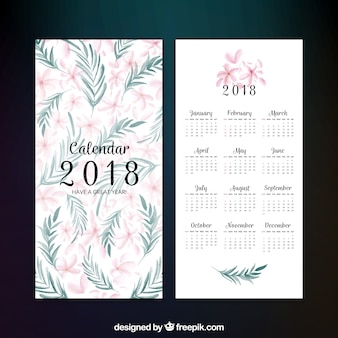 Decorative 2018 calendar with flowers in watercolor style