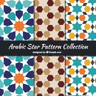 Decorative arabic patterns with geometric stars