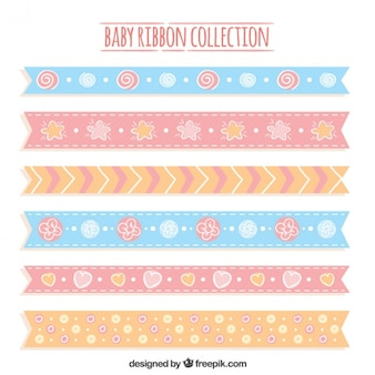 Decorative baby ribbons in pastel colors