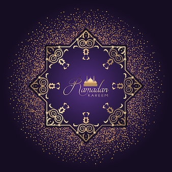 Decorative background for ramadan with golden confetti