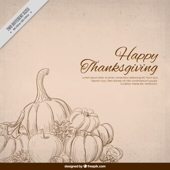 Decorative background hand drawn thanksgiving food
