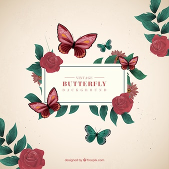 Decorative background of butterflies and roses