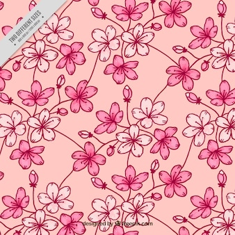 Decorative background of hand-drawn cherry blossoms