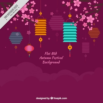 Decorative background of lanterns with floral details