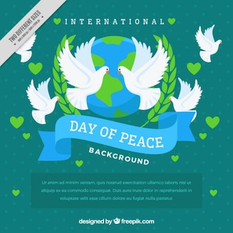Decorative background of peace day with the world and doves