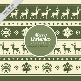 Decorative background of reindeers and snowflakes