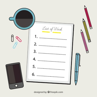Decorative background with checklist and office supplies