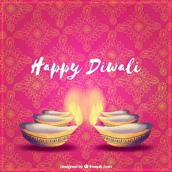 Decorative background with diwali candles