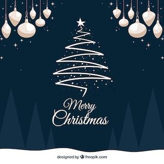 Decorative background with elegant christmas tree