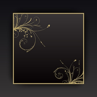 Decorative background with floral elements with gold border