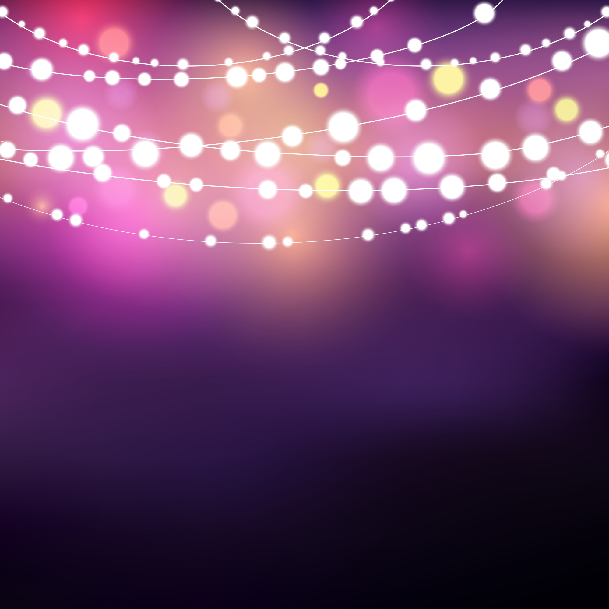 Decorative background with glowing string lights