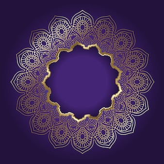 Decorative background with golden mandala frame