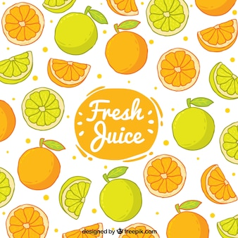 Decorative background with hand-drawn oranges and lemons