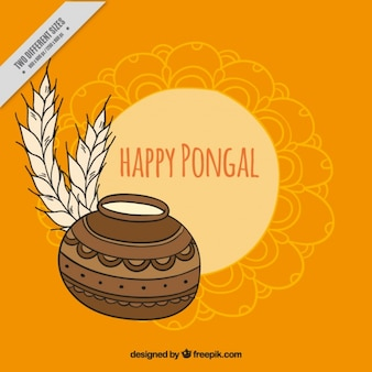 Decorative background with happy pongal elements