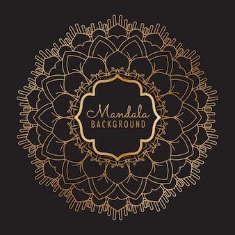 Decorative background with mandala gold frame