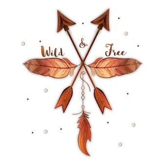 Decorative background with two arrows and feathers