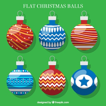 Decorative balls in flat style for christmas