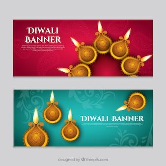 Decorative banners diwali festival