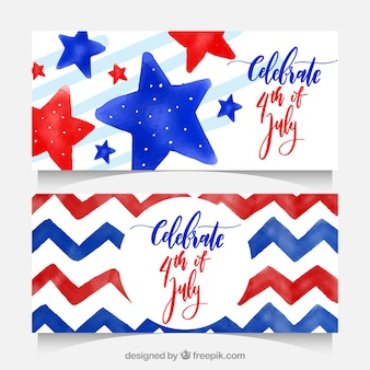 Decorative banners for independence day in watercolor style
